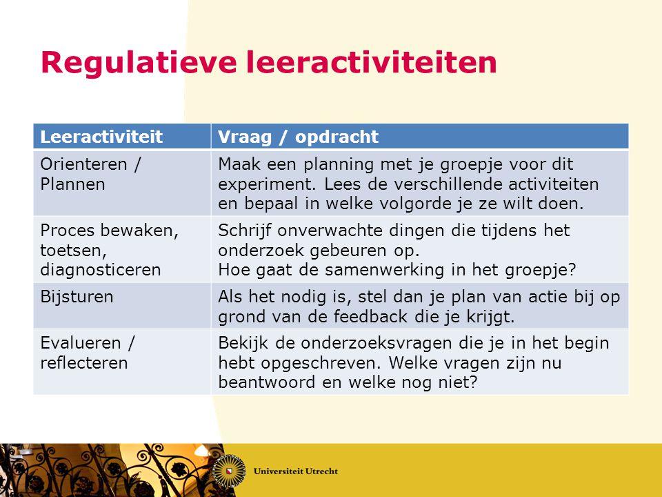 Regulatieve leeractiviteiten