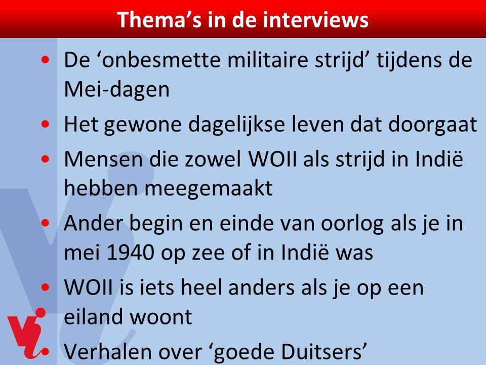 Thema's in de interviews