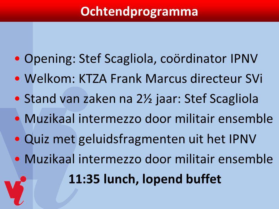 Ochtendprogramma Opening: Stef Scagliola, coördinator IPNV. Welkom: KTZA Frank Marcus directeur SVi.
