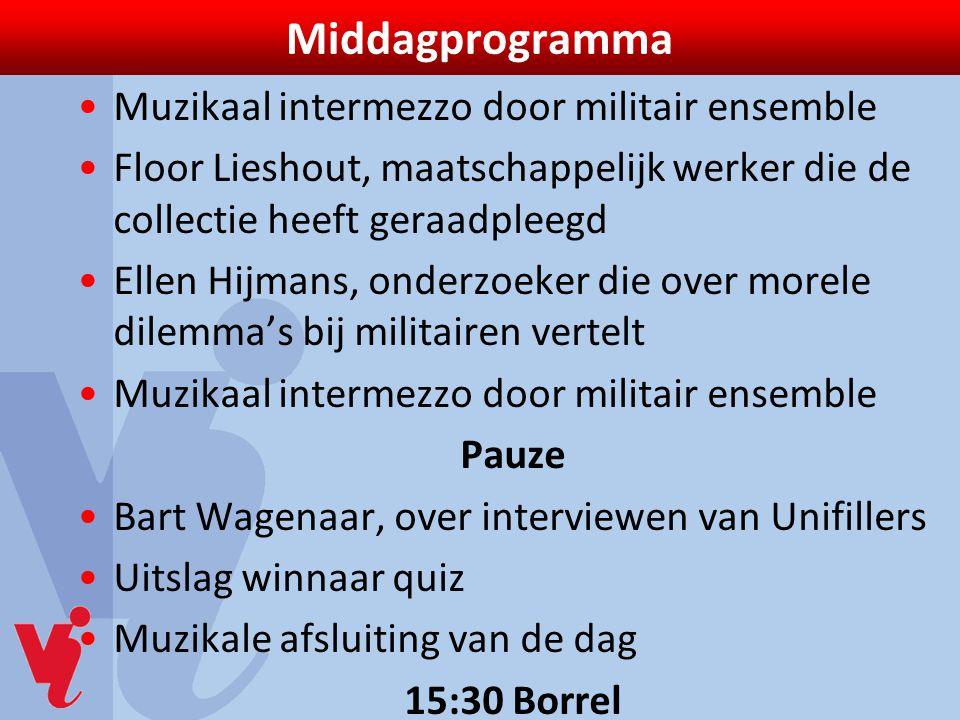 Middagprogramma Muzikaal intermezzo door militair ensemble