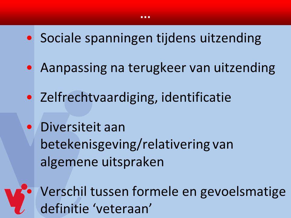 … Sociale spanningen tijdens uitzending. Aanpassing na terugkeer van uitzending. Zelfrechtvaardiging, identificatie.
