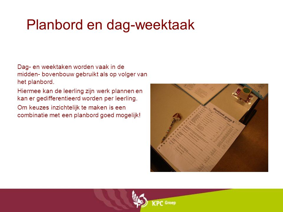 Planbord en dag-weektaak