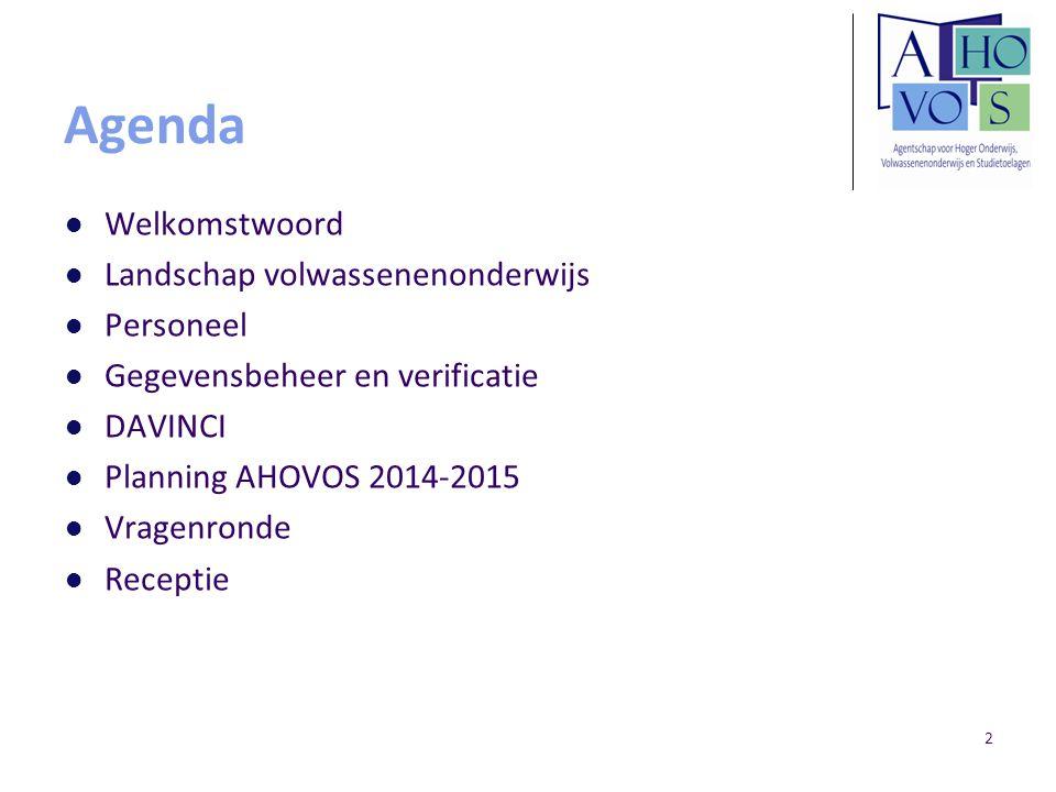 Agenda Welkomstwoord Landschap volwassenenonderwijs Personeel