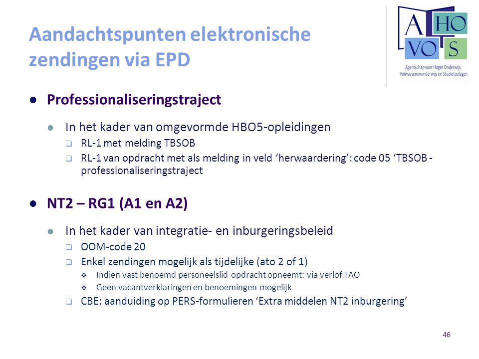 Aandachtspunten elektronische zendingen via EPD