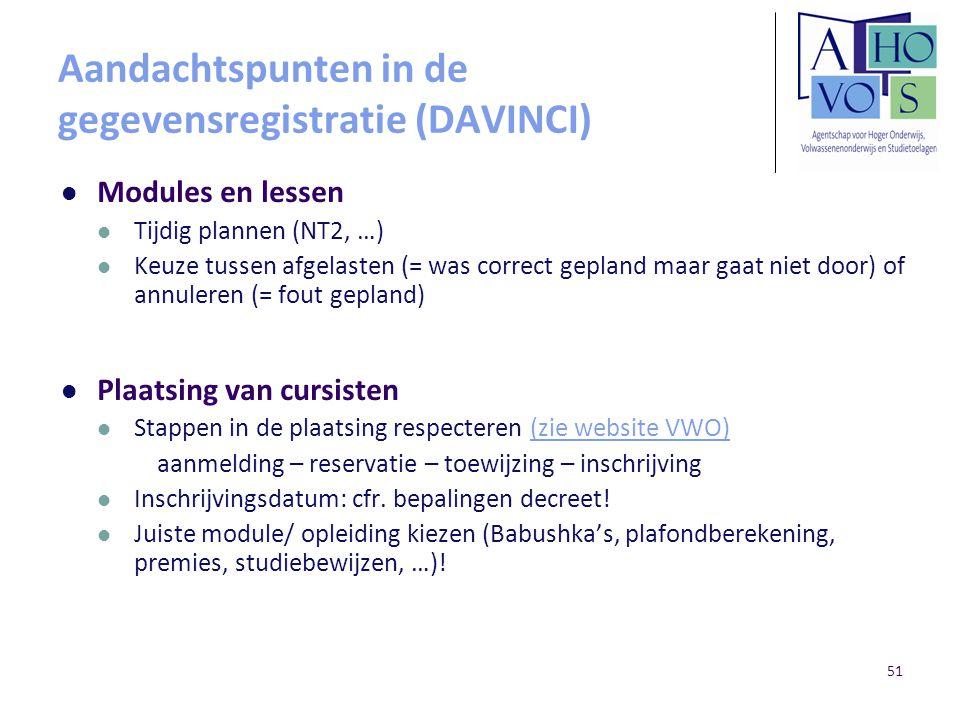 Aandachtspunten in de gegevensregistratie (DAVINCI)