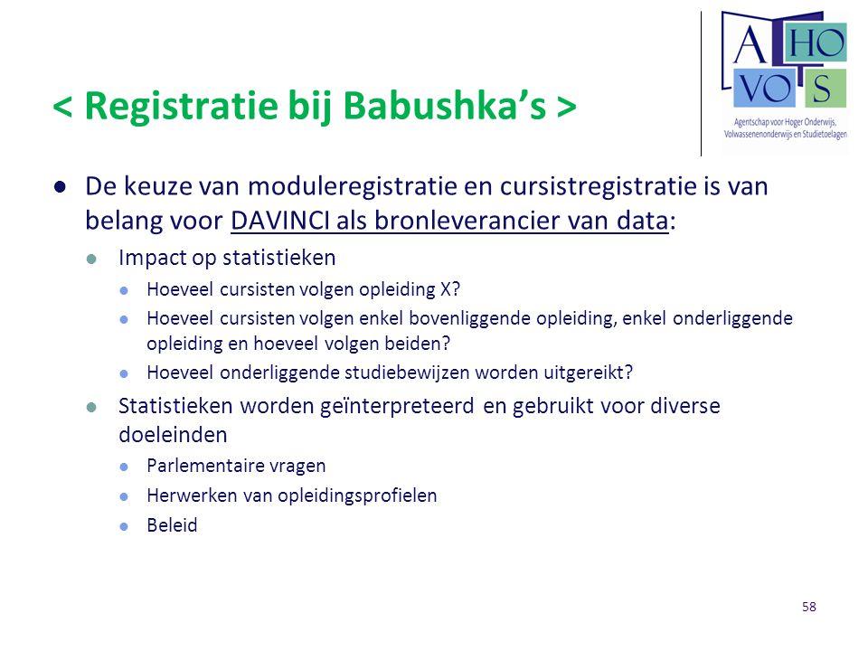 < Registratie bij Babushka's >