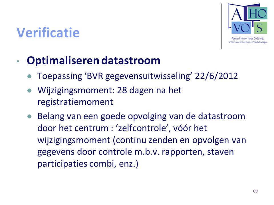 Verificatie Optimaliseren datastroom