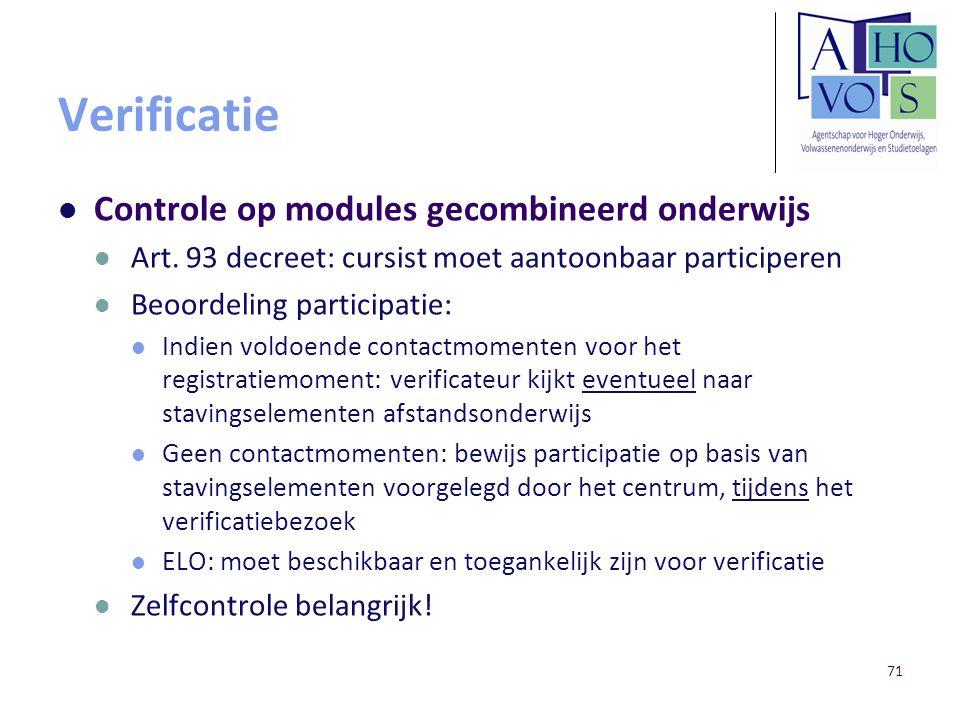 Verificatie Controle op modules gecombineerd onderwijs