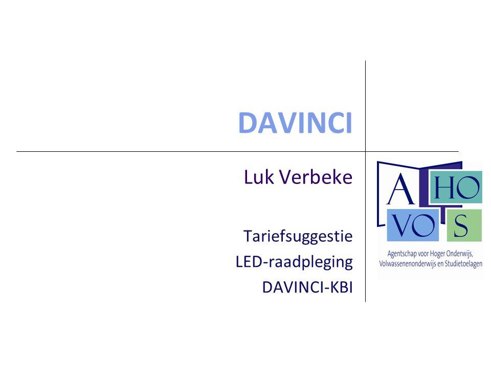 Luk Verbeke Tariefsuggestie LED-raadpleging DAVINCI-KBI