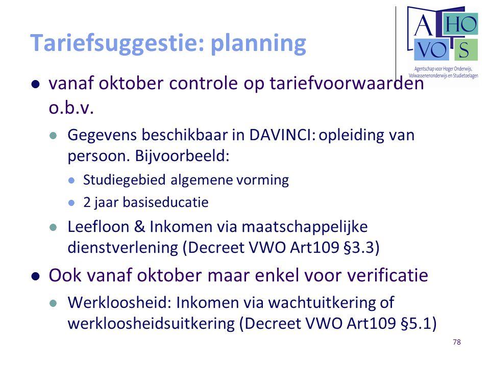 Tariefsuggestie: planning