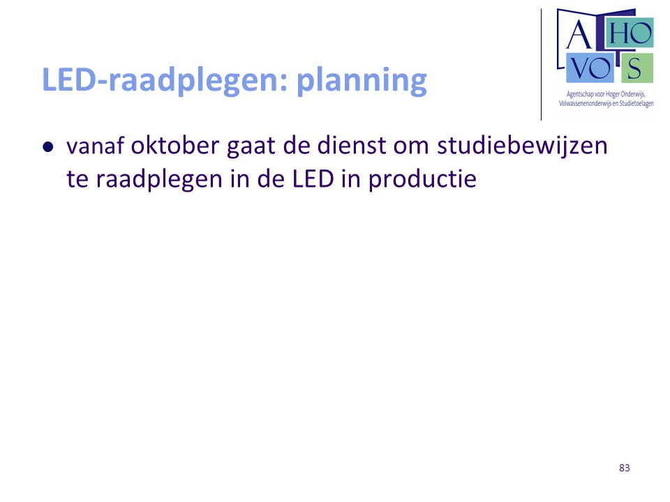 LED-raadplegen: planning