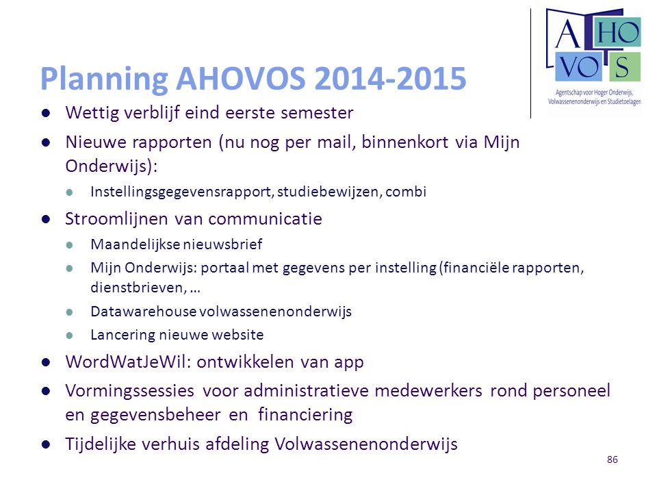 Planning AHOVOS 2014-2015 Wettig verblijf eind eerste semester