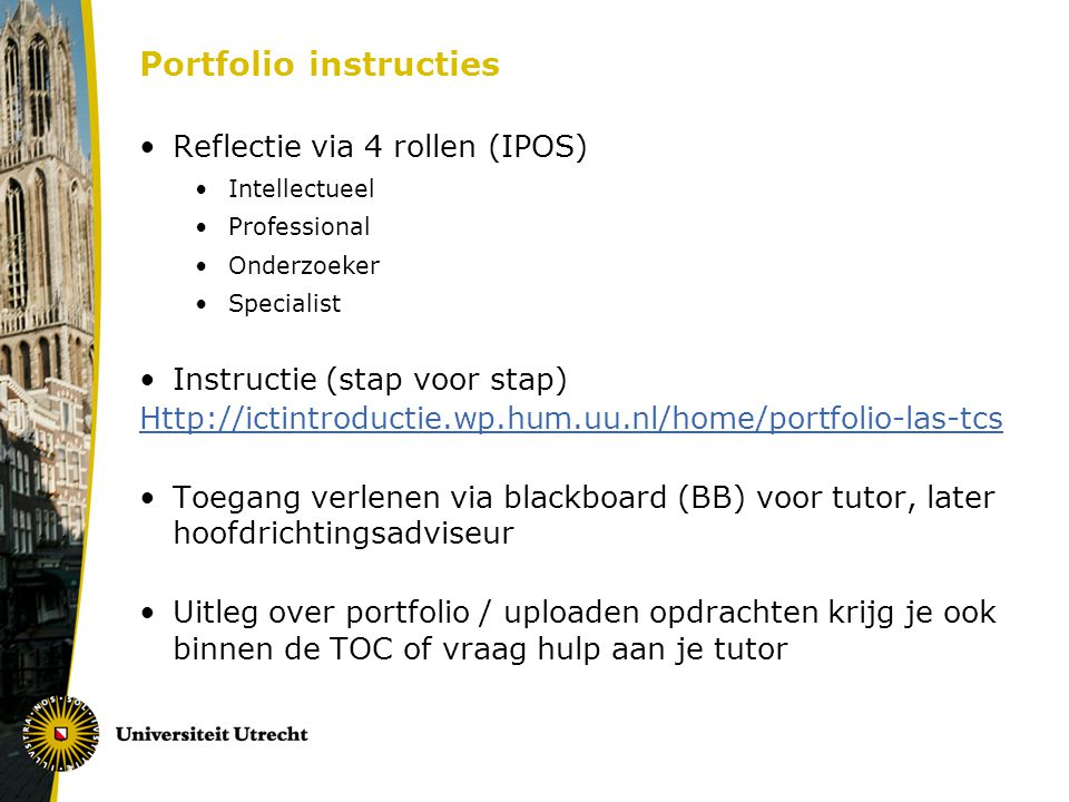 Portfolio instructies