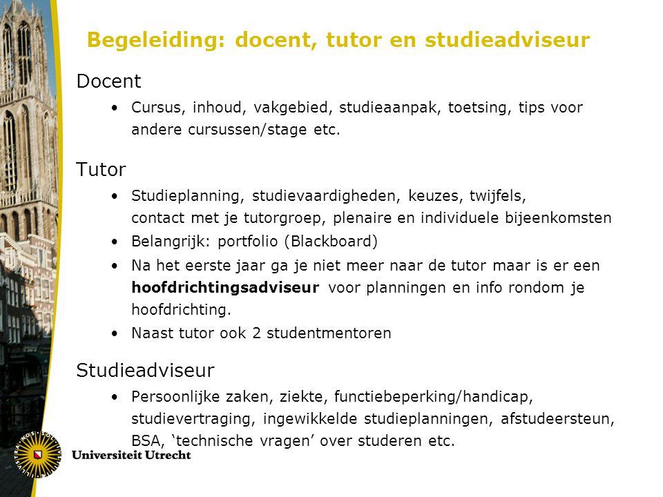 Begeleiding: docent, tutor en studieadviseur