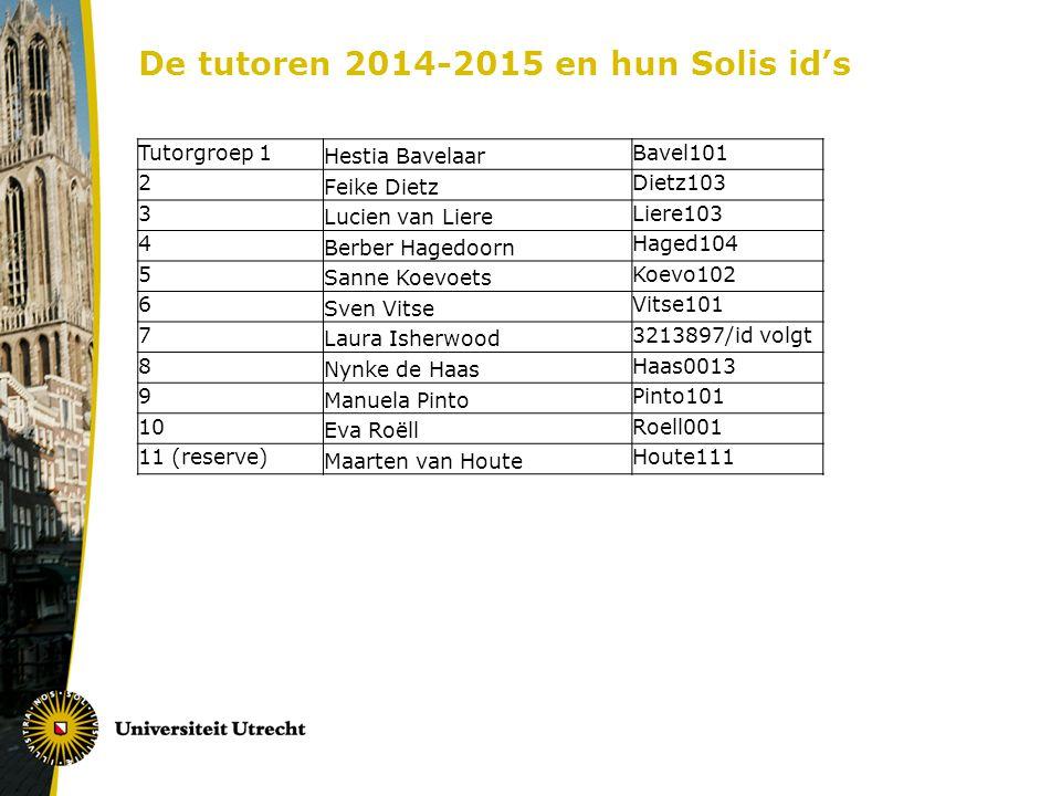 De tutoren 2014-2015 en hun Solis id's
