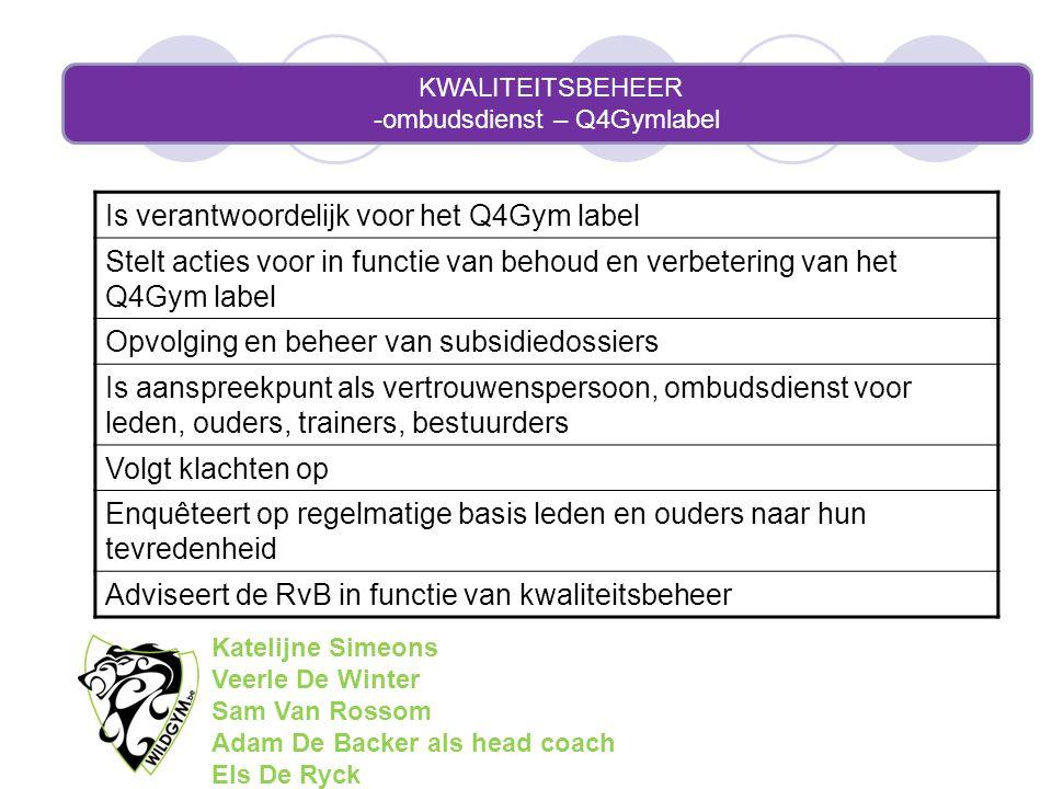 KWALITEITSBEHEER -ombudsdienst – Q4Gymlabel