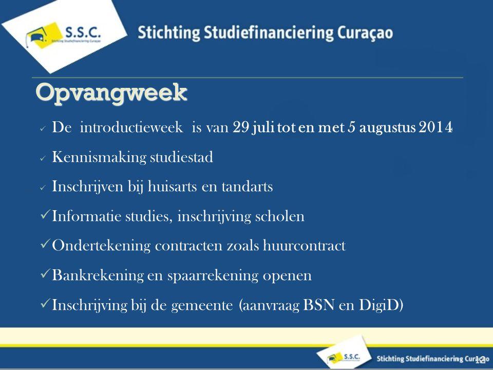 Opvangweek De introductieweek is van 29 juli tot en met 5 augustus 2014. Kennismaking studiestad.