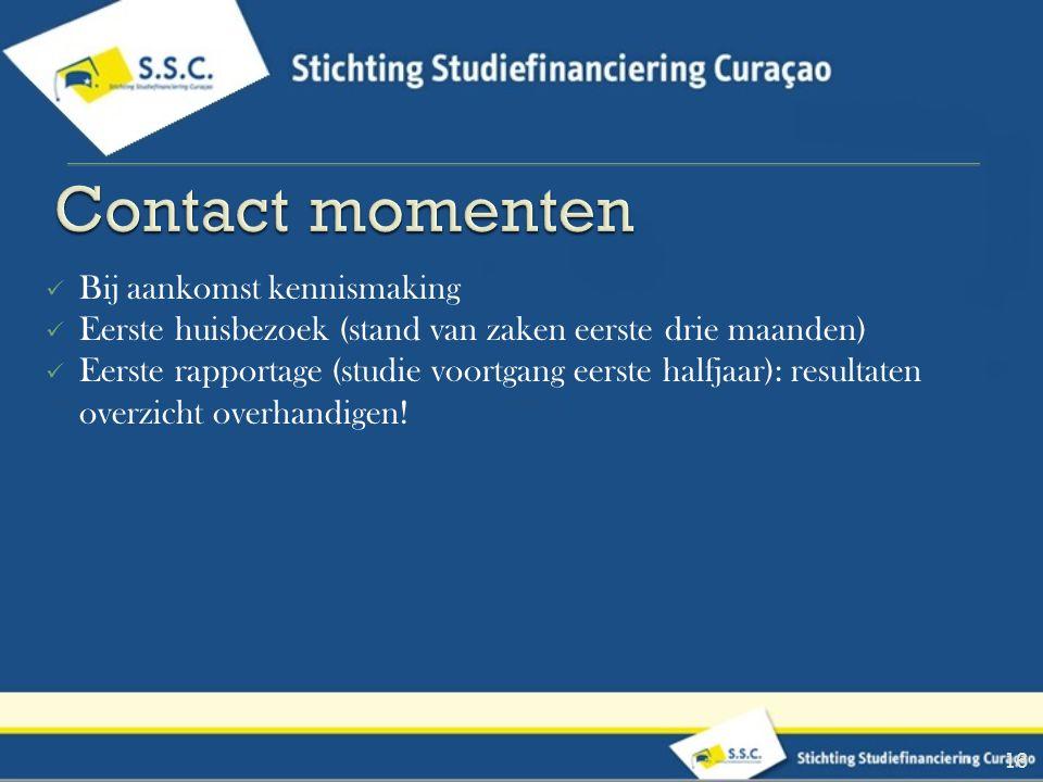 Contact momenten Bij aankomst kennismaking