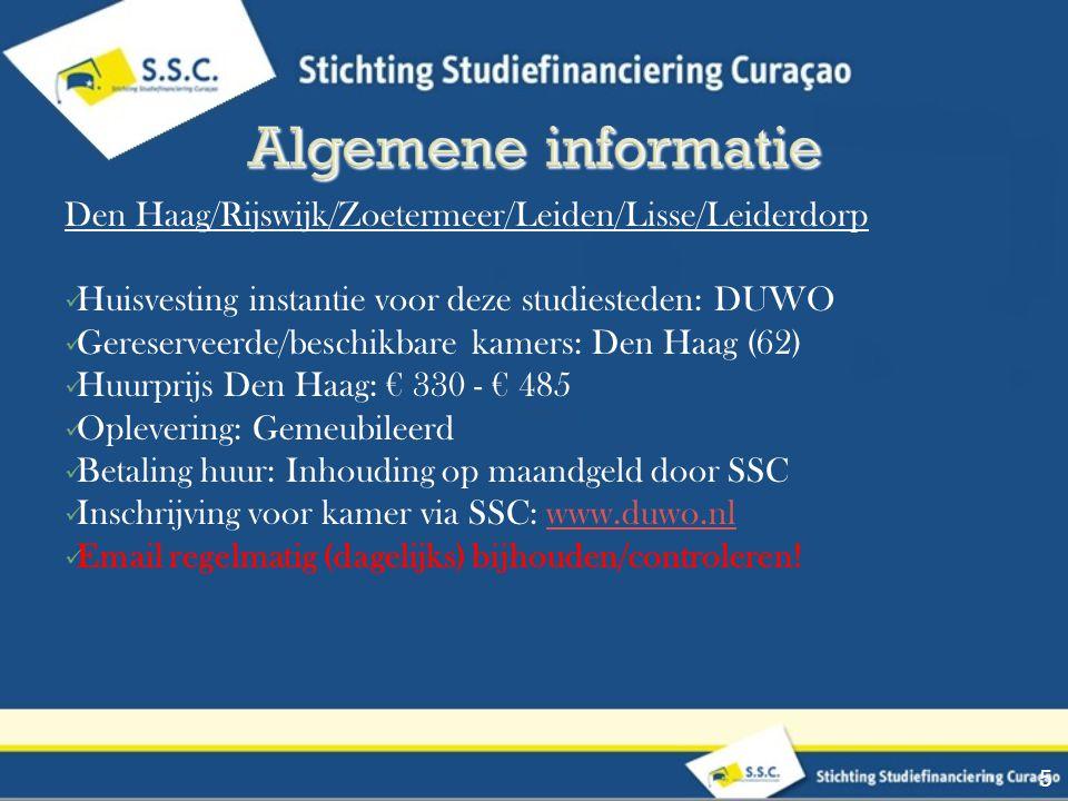 Algemene informatie Den Haag/Rijswijk/Zoetermeer/Leiden/Lisse/Leiderdorp. Huisvesting instantie voor deze studiesteden: DUWO.