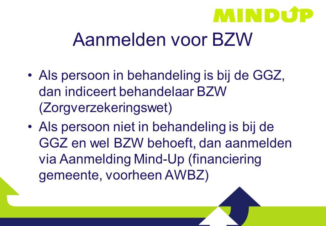 Aanmelden voor BZW Als persoon in behandeling is bij de GGZ, dan indiceert behandelaar BZW (Zorgverzekeringswet)