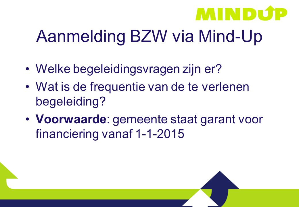 Aanmelding BZW via Mind-Up