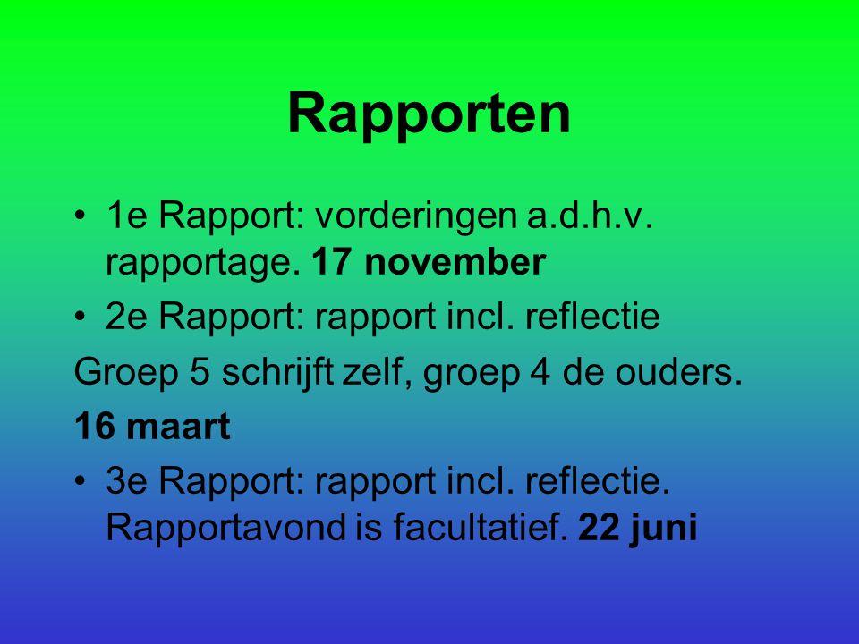 Rapporten 1e Rapport: vorderingen a.d.h.v. rapportage. 17 november
