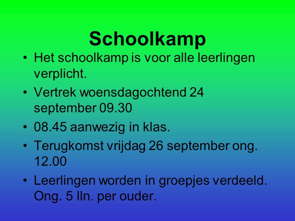 Schoolkamp Het schoolkamp is voor alle leerlingen verplicht.