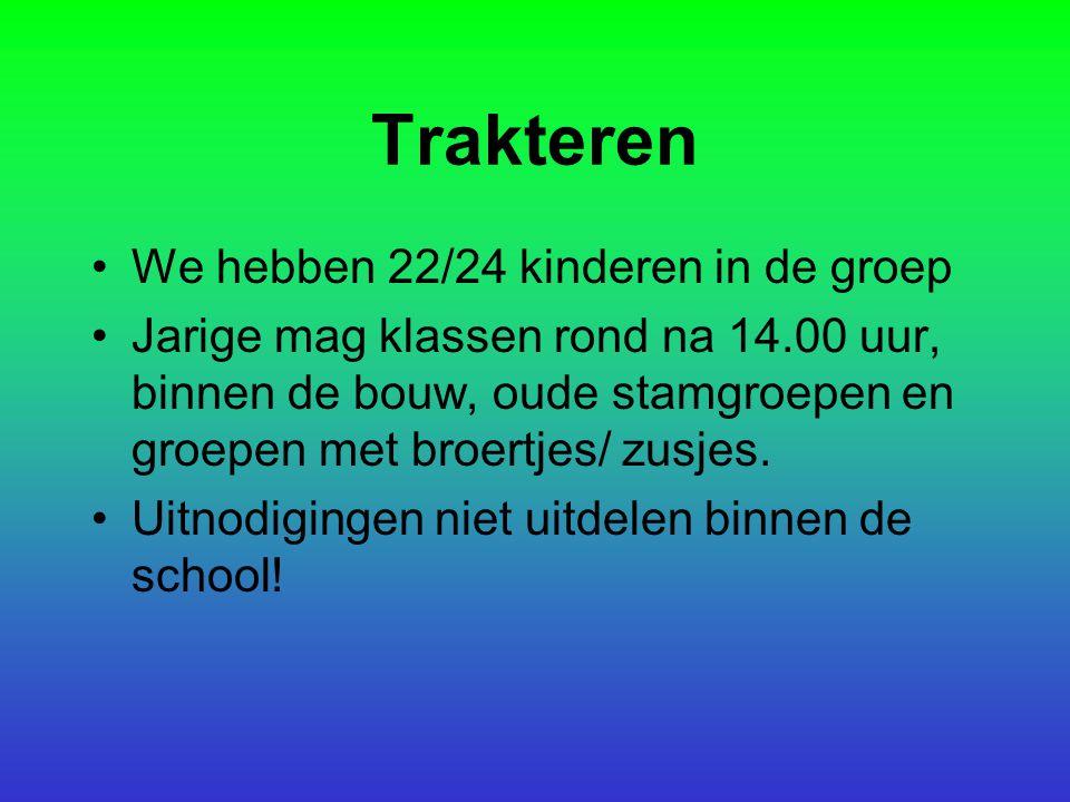 Trakteren We hebben 22/24 kinderen in de groep