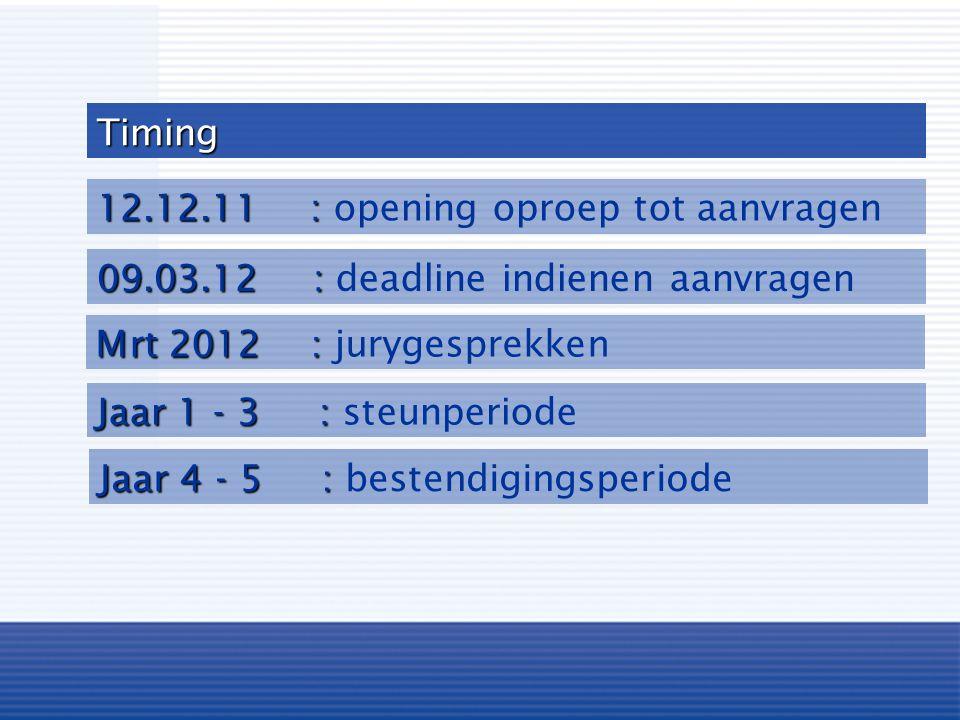 Timing 12.12.11 : opening oproep tot aanvragen. 09.03.12 : deadline indienen aanvragen. Mrt 2012 : jurygesprekken.