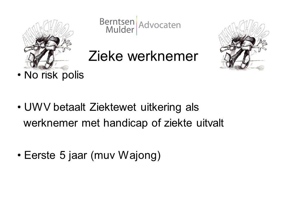 Zieke werknemer No risk polis UWV betaalt Ziektewet uitkering als