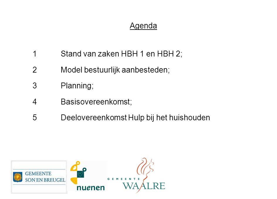 Agenda 1 Stand van zaken HBH 1 en HBH 2; 2 Model bestuurlijk aanbesteden; 3 Planning; 4 Basisovereenkomst;