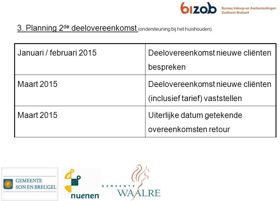 3. Planning 2de deelovereenkomst (ondersteuning bij het huishouden)