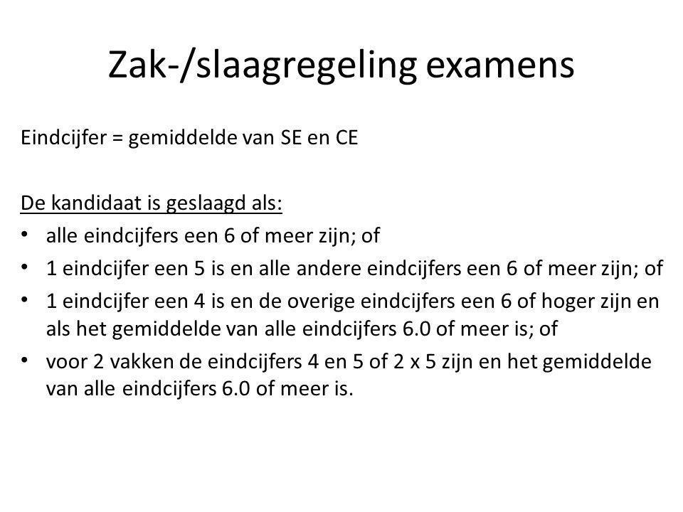Zak-/slaagregeling examens