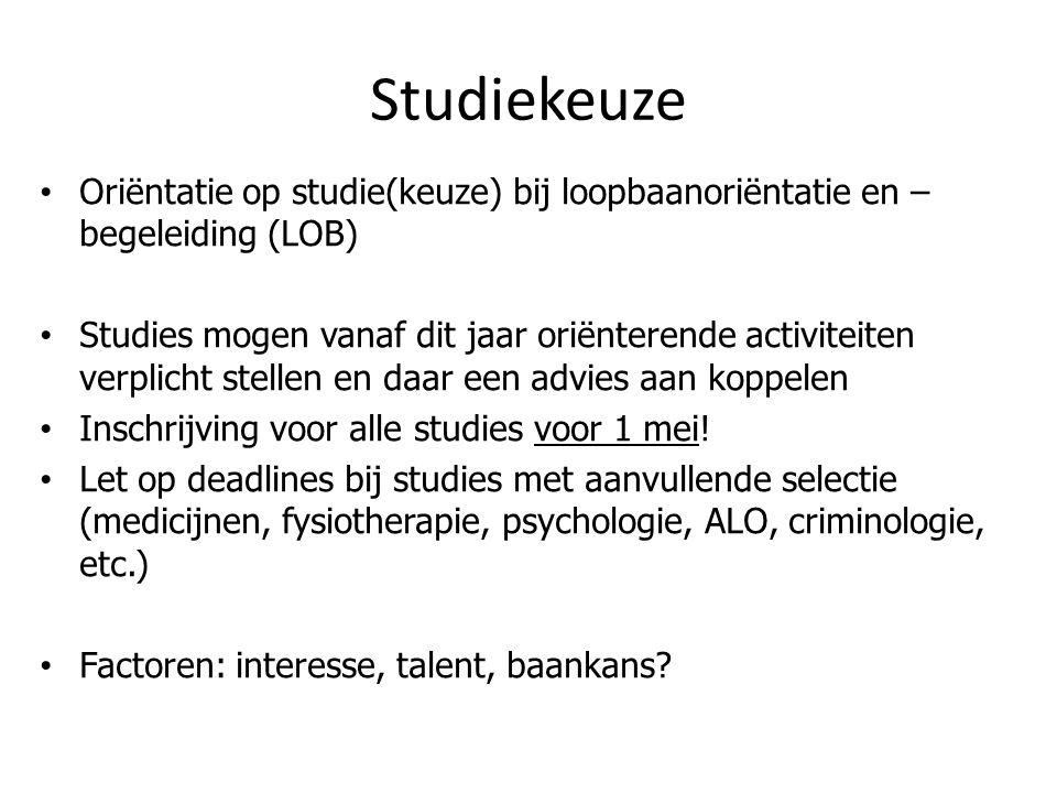 Studiekeuze Oriëntatie op studie(keuze) bij loopbaanoriëntatie en –begeleiding (LOB)