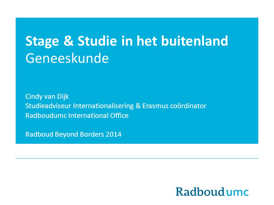 Stage & Studie in het buitenland