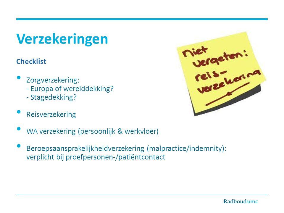 Verzekeringen Checklist Zorgverzekering: - Europa of werelddekking