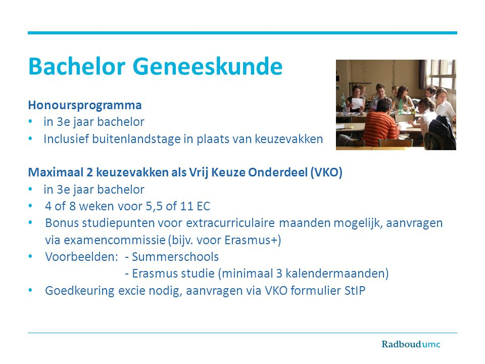 Bachelor Geneeskunde Honoursprogramma in 3e jaar bachelor