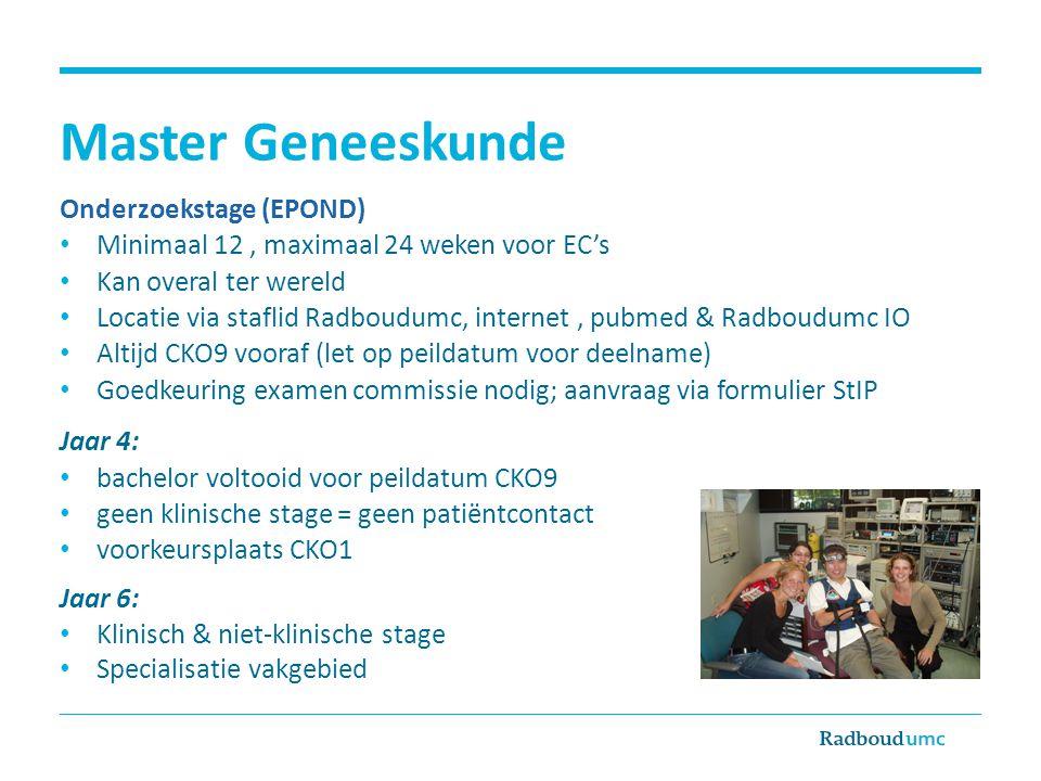 Master Geneeskunde Onderzoekstage (EPOND)