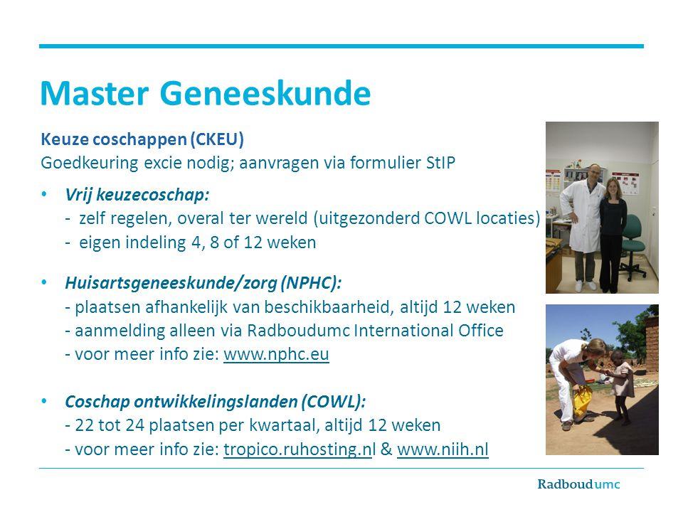Master Geneeskunde Keuze coschappen (CKEU)
