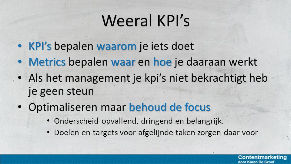 Weeral KPI's KPI's bepalen waarom je iets doet