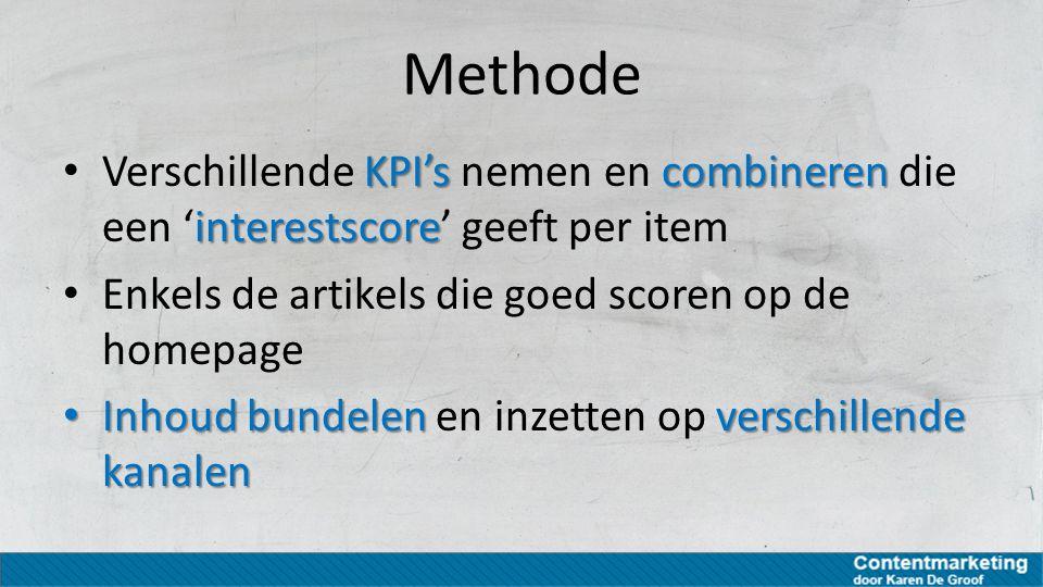 Methode Verschillende KPI's nemen en combineren die een 'interestscore' geeft per item. Enkels de artikels die goed scoren op de homepage.