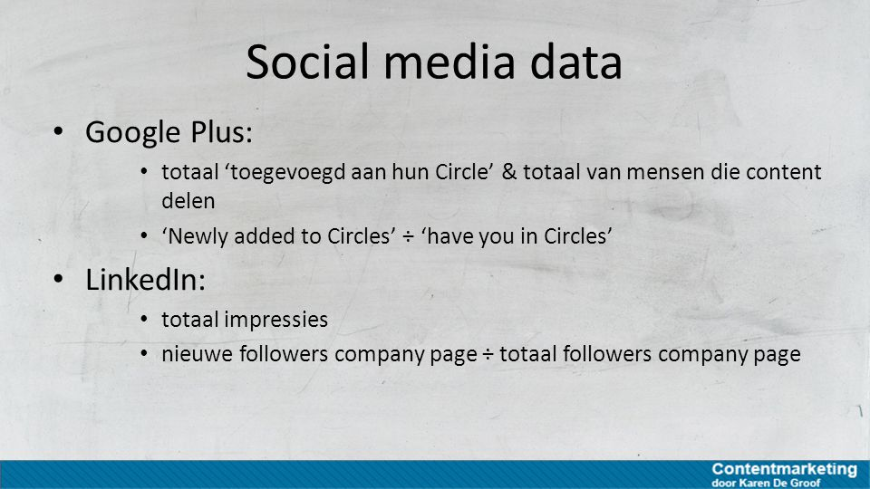 Social media data Google Plus: LinkedIn: