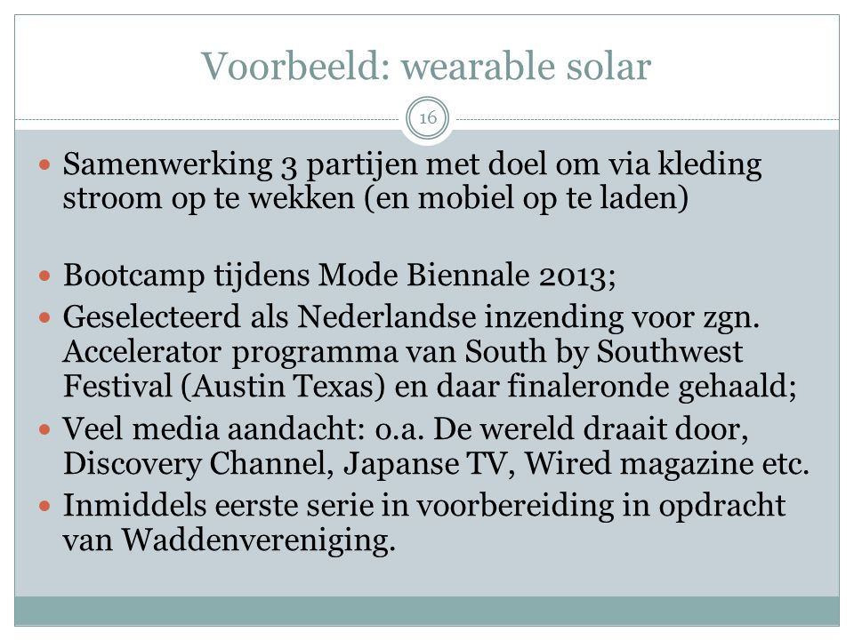 Voorbeeld: wearable solar