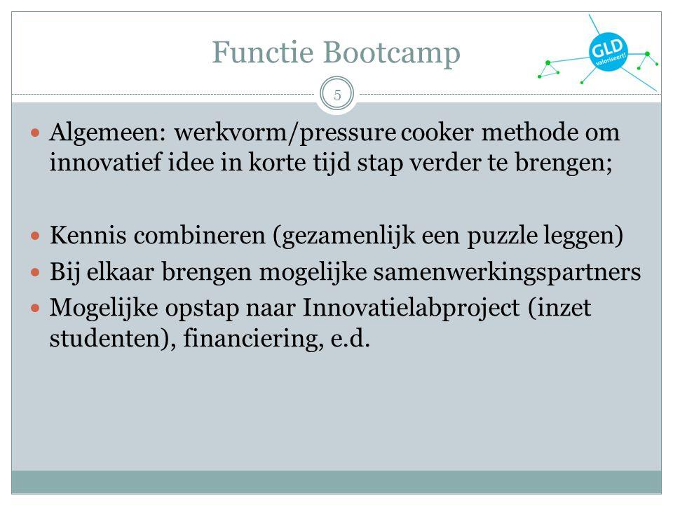 Functie Bootcamp Algemeen: werkvorm/pressure cooker methode om innovatief idee in korte tijd stap verder te brengen;