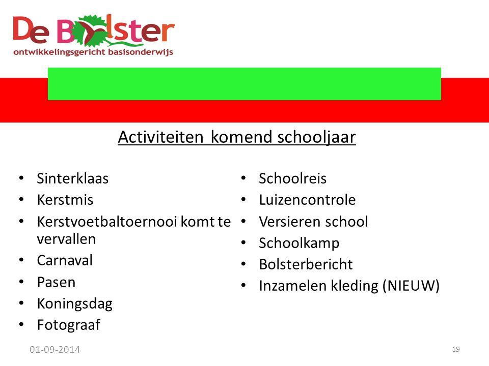 Activiteiten komend schooljaar