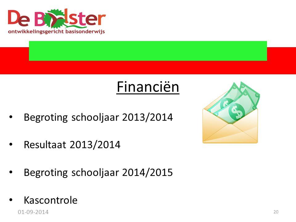 Financiën Begroting schooljaar 2013/2014 Resultaat 2013/2014