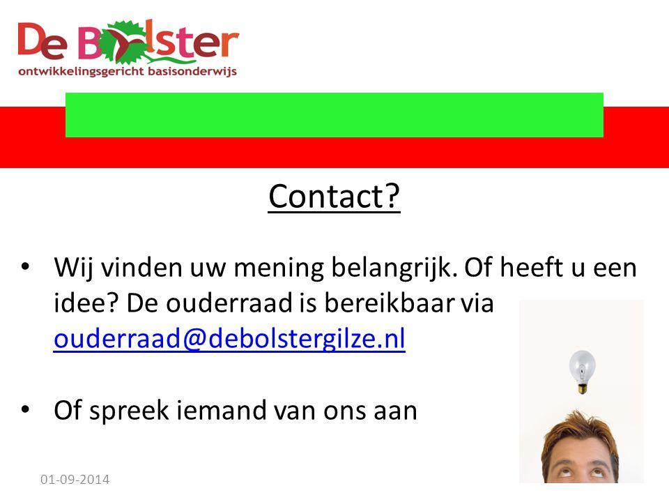Contact Wij vinden uw mening belangrijk. Of heeft u een idee De ouderraad is bereikbaar via ouderraad@debolstergilze.nl.
