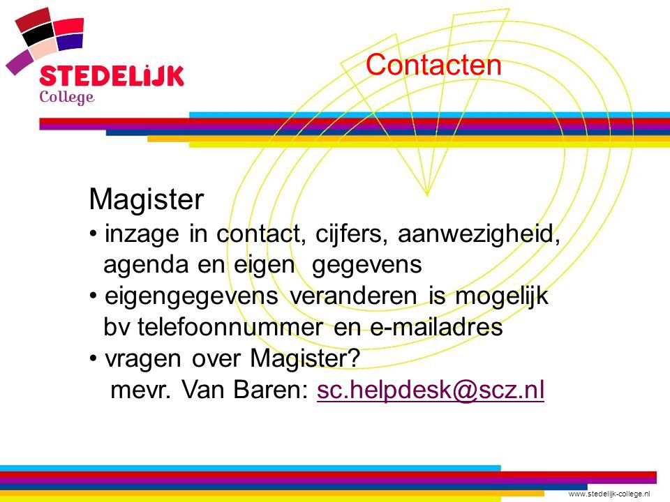 Contacten Magister inzage in contact, cijfers, aanwezigheid,