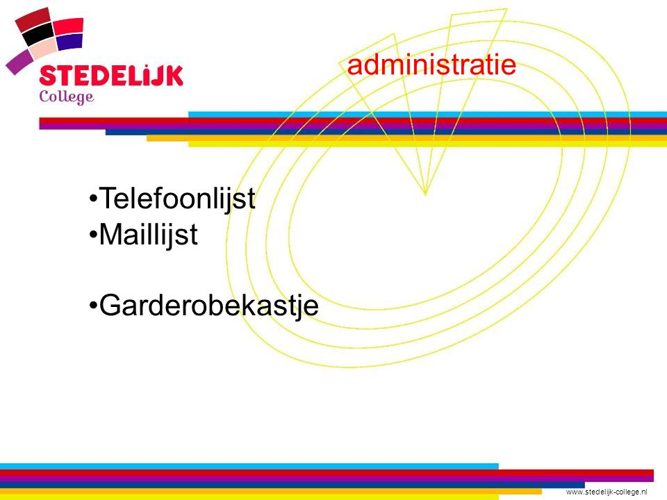 administratie Telefoonlijst Maillijst Garderobekastje