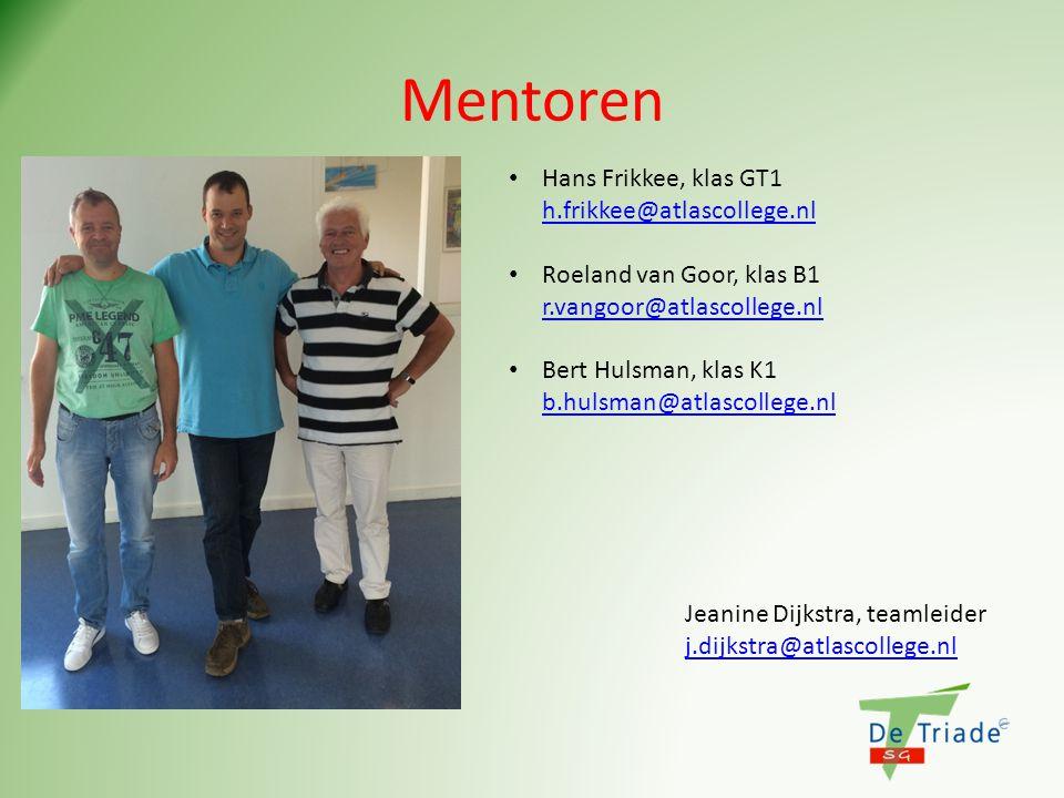 Mentoren Hans Frikkee, klas GT1 h.frikkee@atlascollege.nl